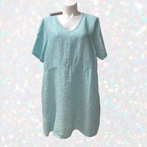 FLAX Linen Tee Shirt Dress 2G XXL 2X Pockets